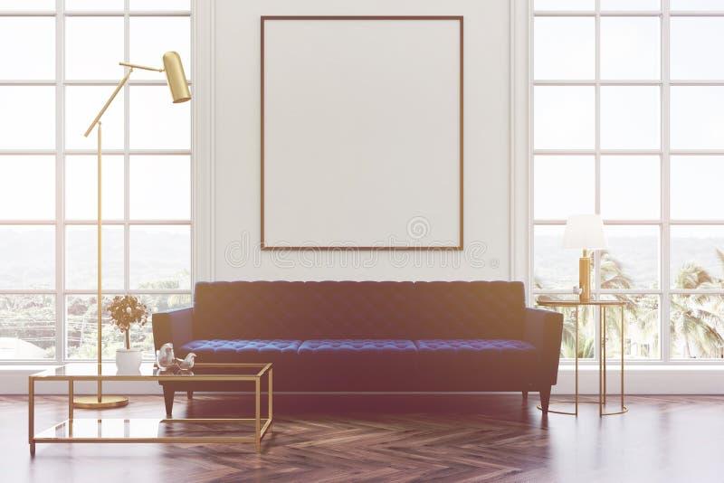 白色客厅,蓝色沙发,被定调子的海报 向量例证