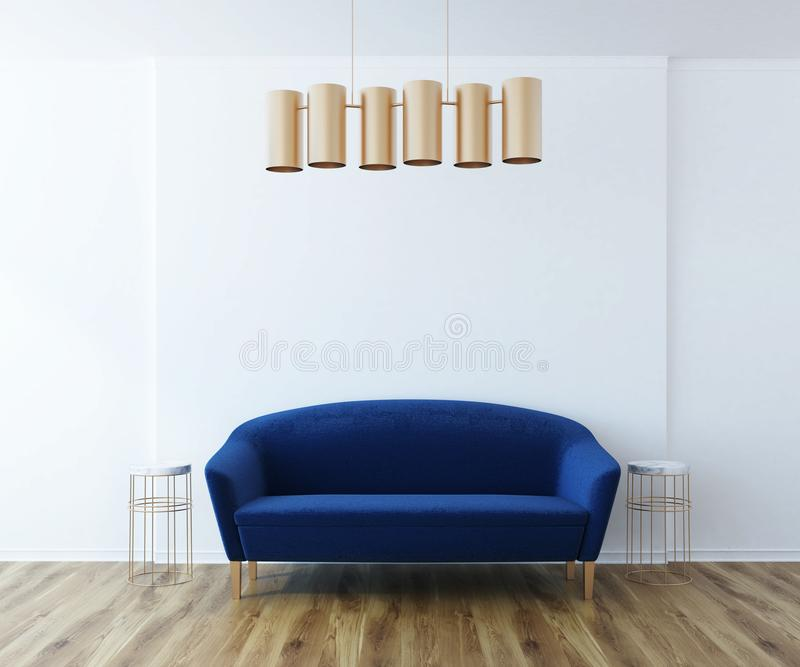 白色客厅,蓝色沙发 向量例证