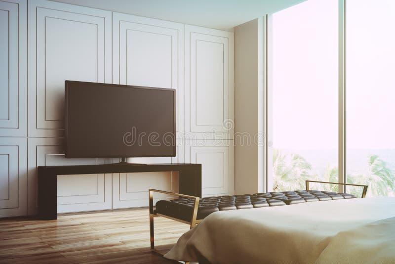 白色客厅,被定调子的电视机侧视图 向量例证