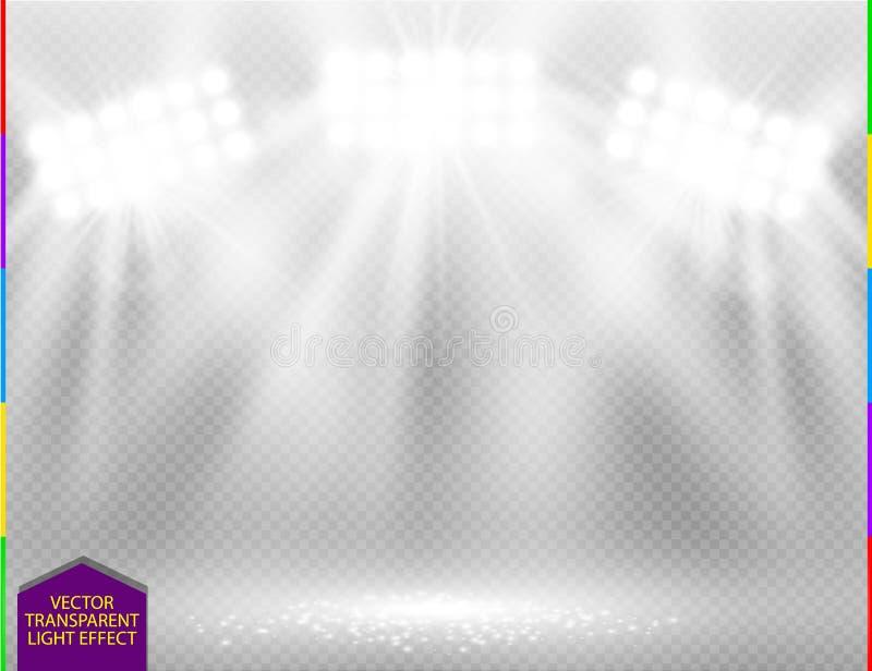 白色对透明背景的传染媒介聚光灯光线影响 与焕发光芒照亮的火花共同安排场面 向量例证