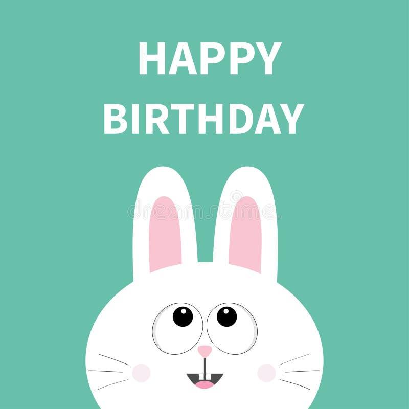 白色小兔面孔 宠物汇集 查寻的野兔 愉快的生日 2007个看板卡招呼的新年好 平的设计 逗人喜爱的动画片滑稽的字符 向量例证