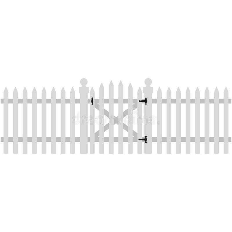白色尖桩篱栅和门例证 皇族释放例证