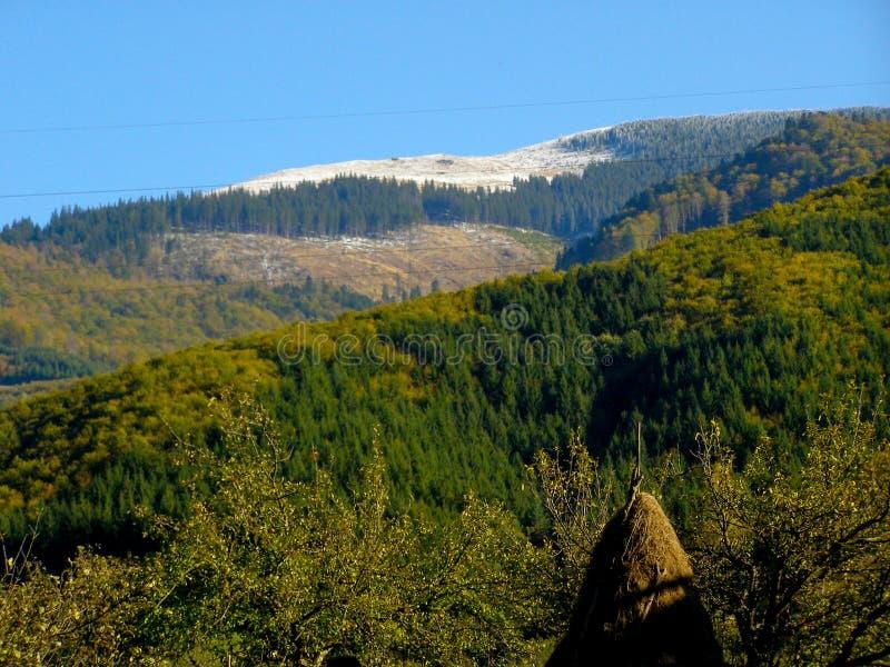 白色山在峰顶堆下雪嘿 库存图片