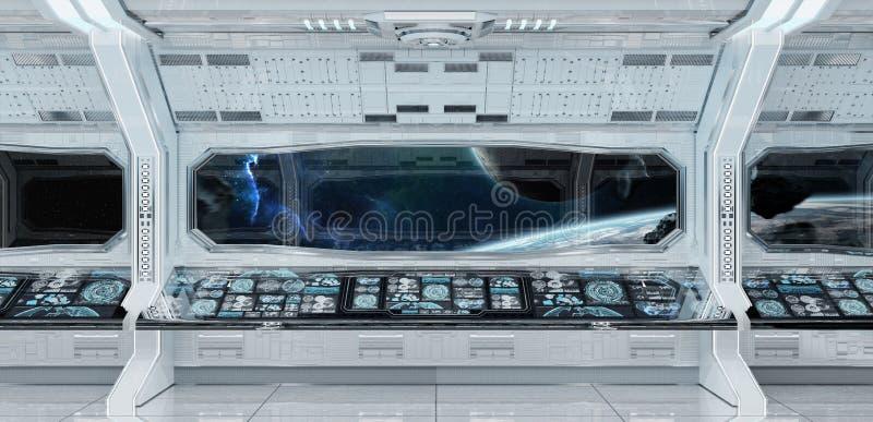 白色干净的太空飞船内部有行星地球3D上的看法烈 向量例证
