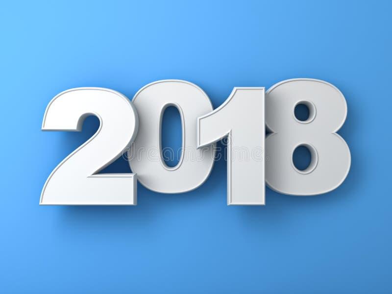白色年二千十八,新年好2018年, 3D在蓝色背景隔绝的蓝色文本 皇族释放例证