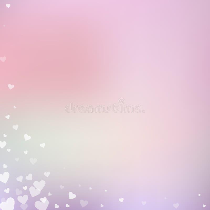 白色心脏爱五彩纸屑 情人节角落 库存例证
