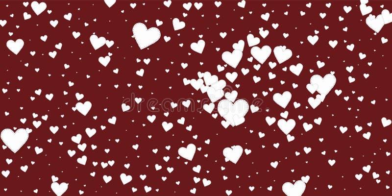 白色心脏爱五彩纸屑 情人节explos 库存例证