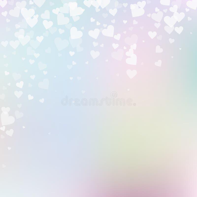 白色心脏爱五彩纸屑 情人节fallin 向量例证
