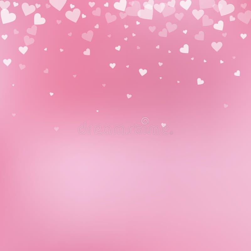 白色心脏爱五彩纸屑 情人节gradie 皇族释放例证