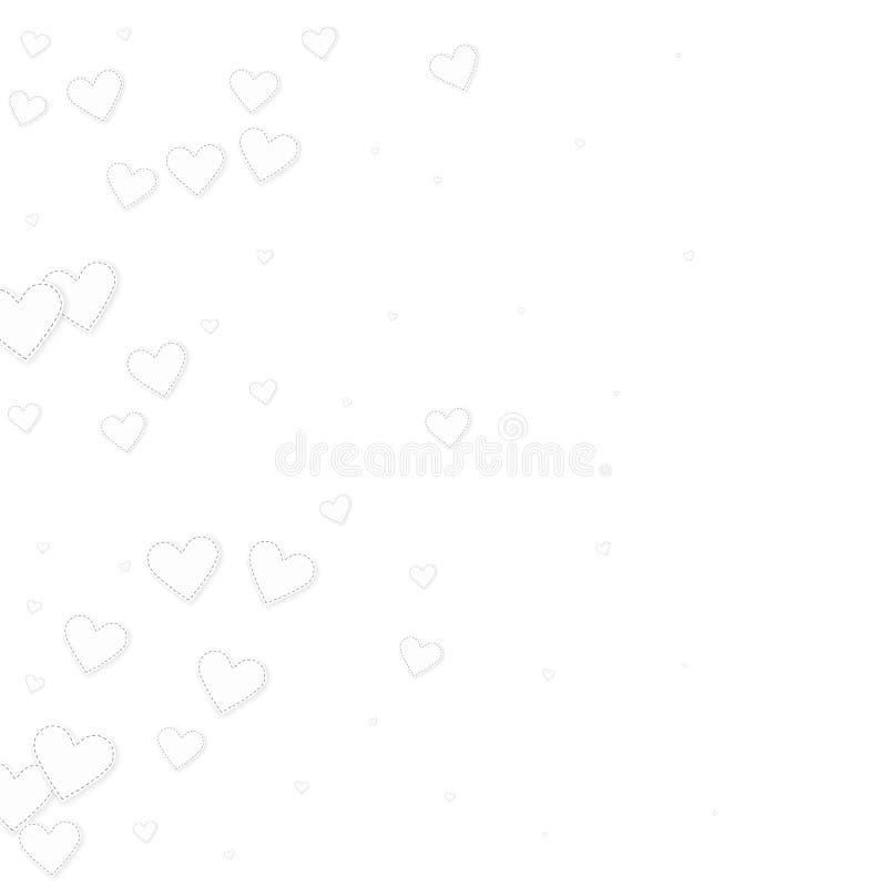 白色心脏爱五彩纸屑 情人节gradie 向量例证