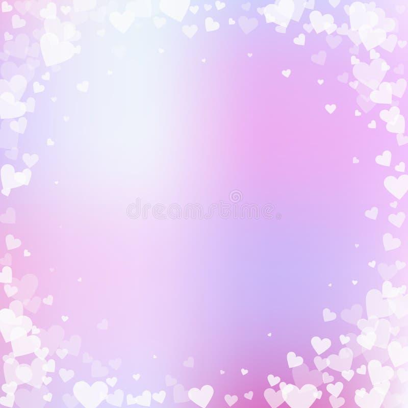 白色心脏爱五彩纸屑 情人节vignet 向量例证