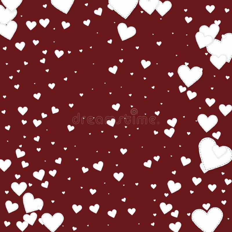 白色心脏爱五彩纸屑 情人节vignet 皇族释放例证