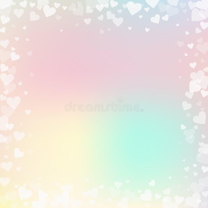 白色心脏爱五彩纸屑 日框架s华伦泰 库存例证