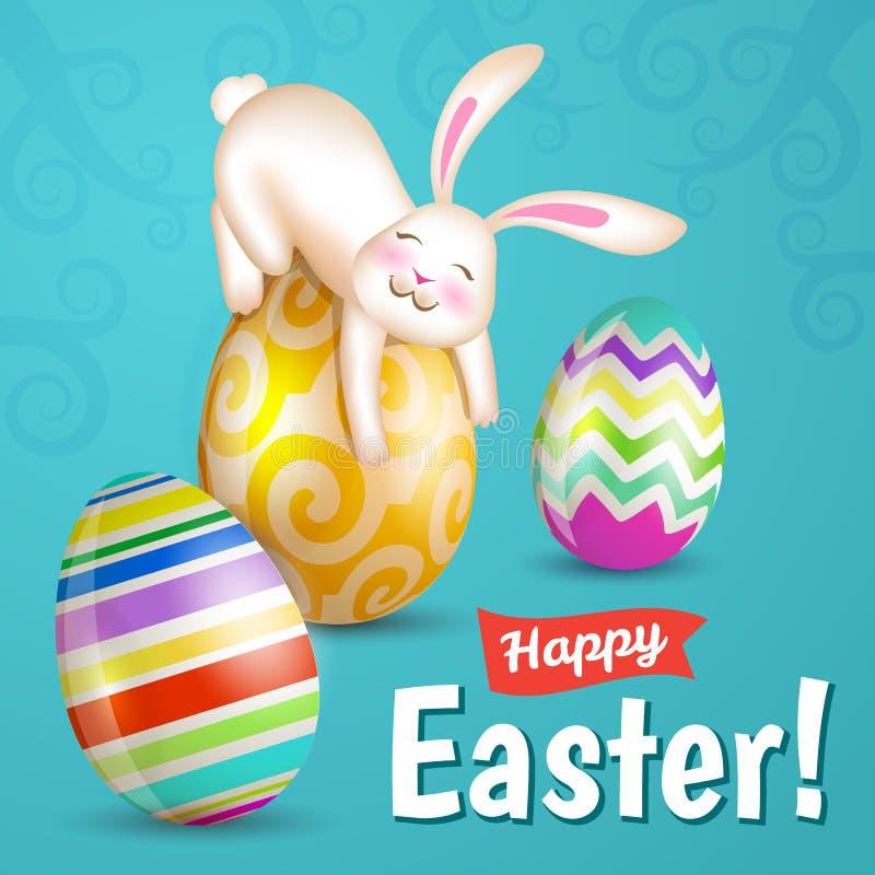 白色快乐的复活节兔子 库存例证