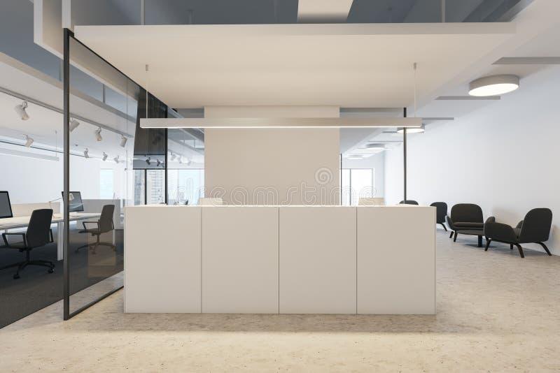 白色总台在现代办公室 库存例证