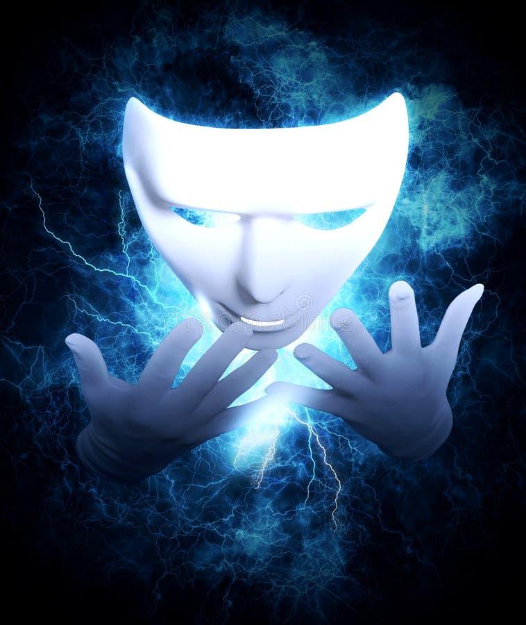 白色戏剧性手势面具 库存图片