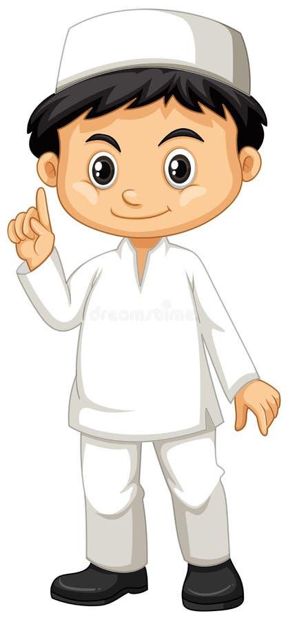 白色成套装备的印度尼西亚男孩 向量例证