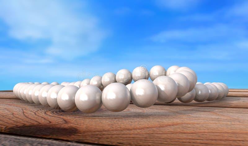白色成珠状在木桌3d回报的老难看的东西的项链 向量例证