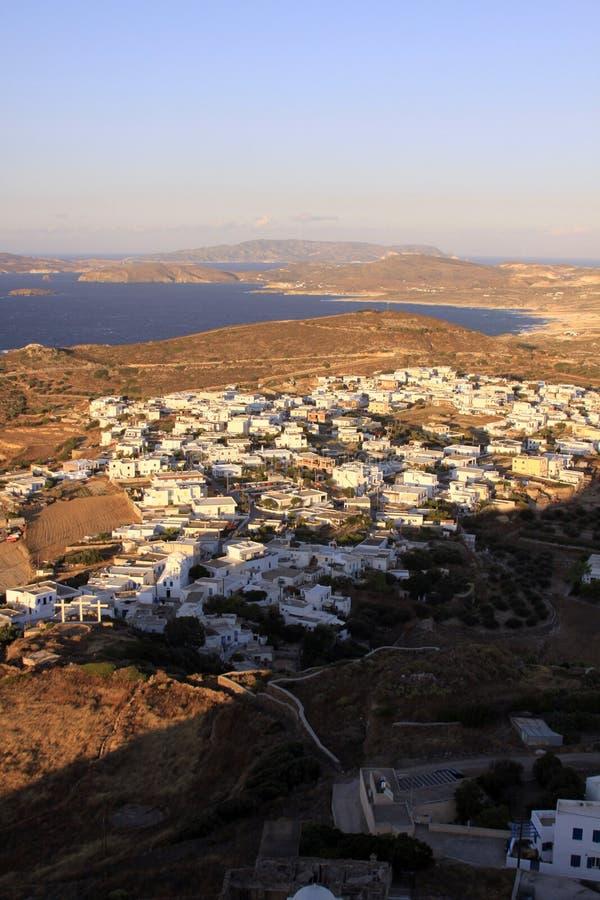 白色房子在芦粟海岛02上的希腊村庄 库存图片