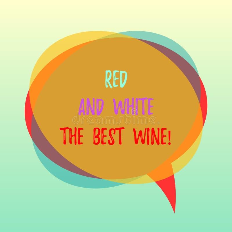 白色手写的文本红色和最佳的酒 概念意思最美好的酒精饮料酿酒厂品尝的专家的空白的讲话 库存例证