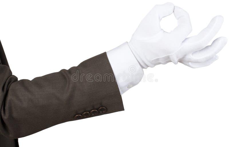白色手套做好标志 库存图片