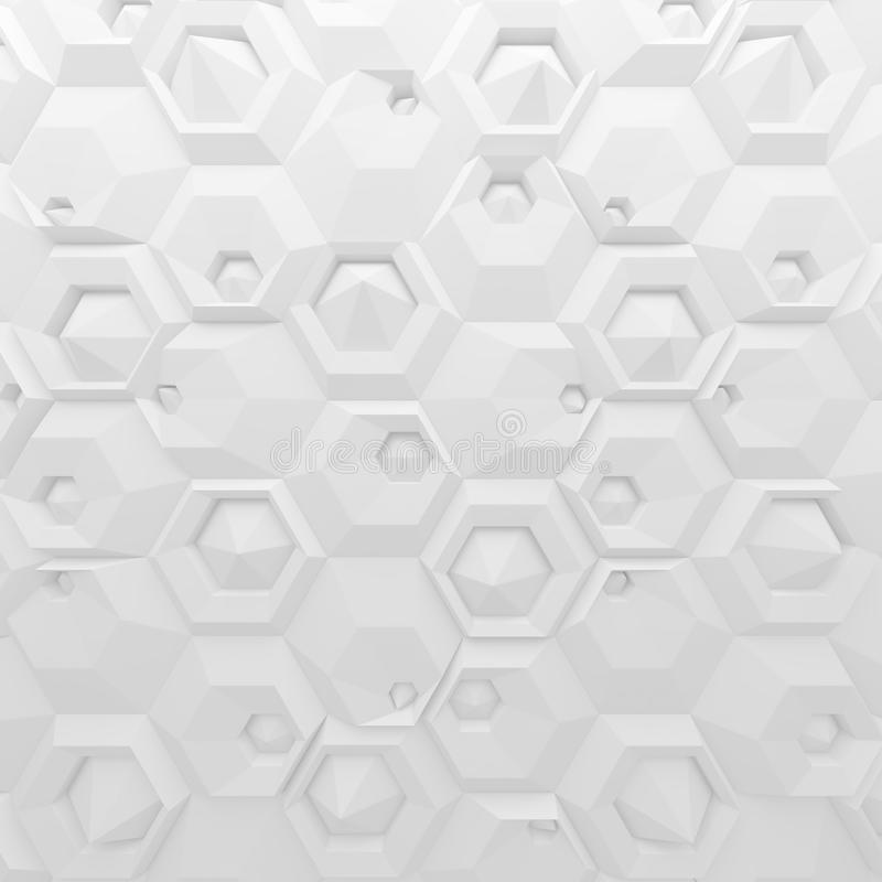 白色抽象六角形背景 回报几何多角形的3d 库存例证