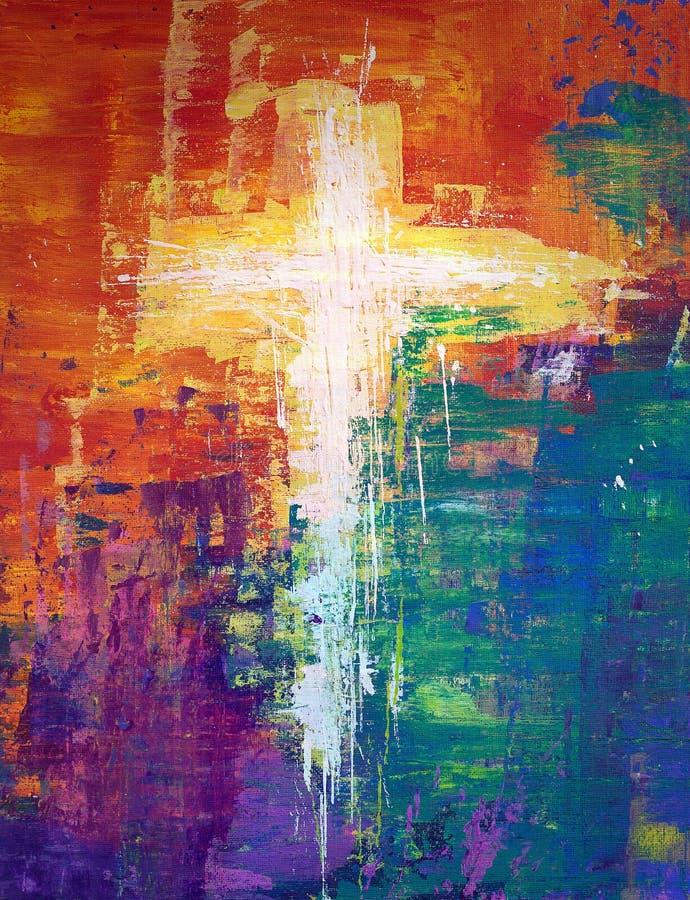 白色抽象十字架 皇族释放例证