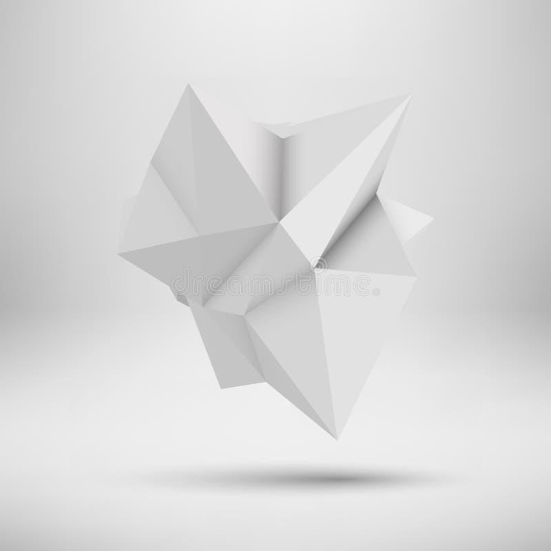 白色抽象多角形形状 向量例证