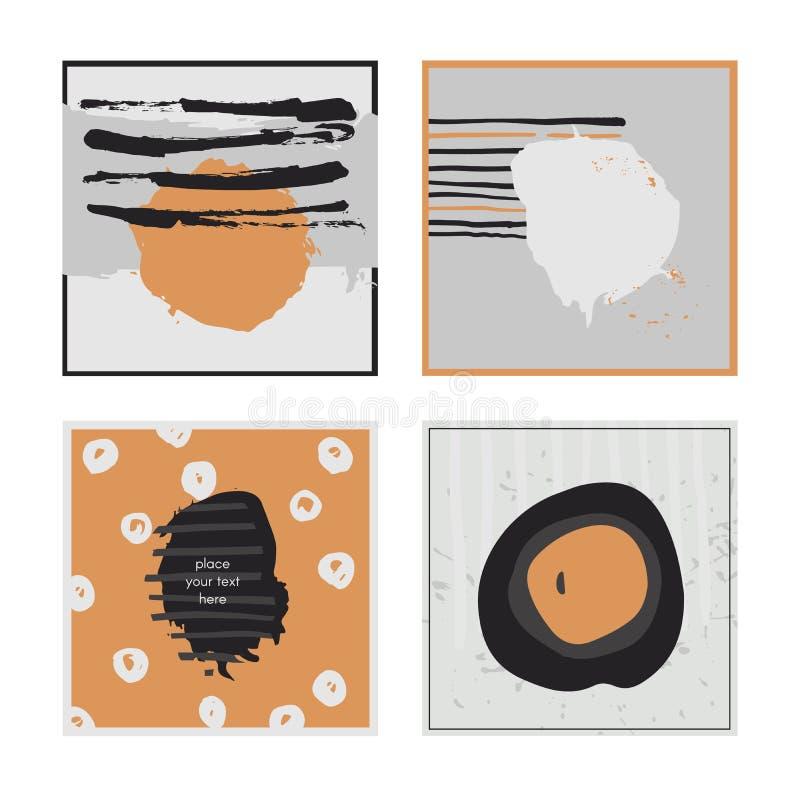 白色抽象方形的卡片,手拉与刷子和条纹、刷子一滴和污迹 灰色和橙色口音 传染媒介illustrati 库存例证