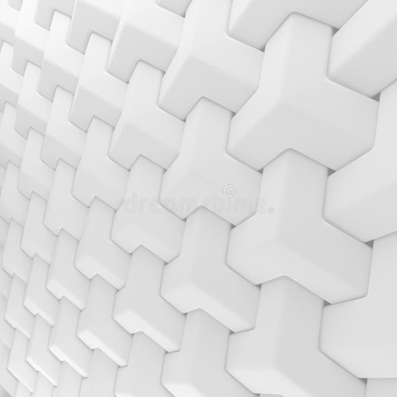 白色抽象立方体格子背景 回报几何多角形的3d 皇族释放例证