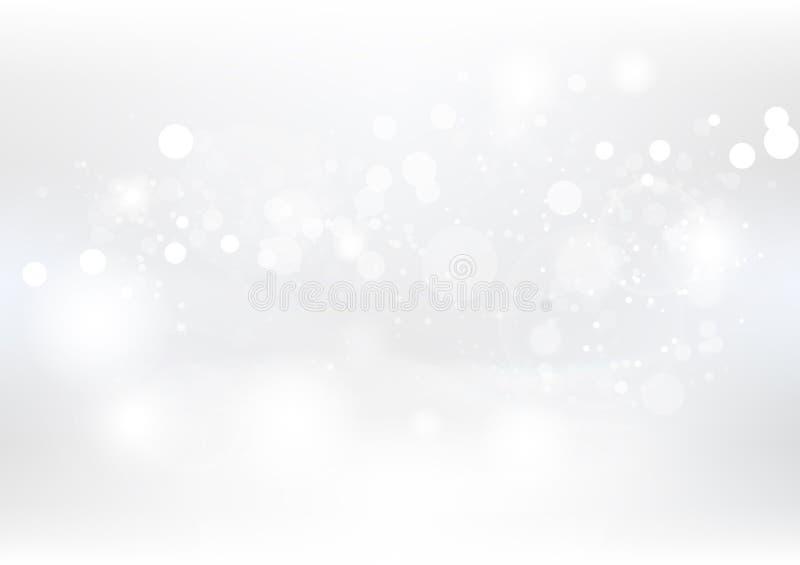 白色抽象背景、圣诞节和新年、尘土和微粒驱散与眨眼睛闪闪发光幻想季节性假日的星 向量例证