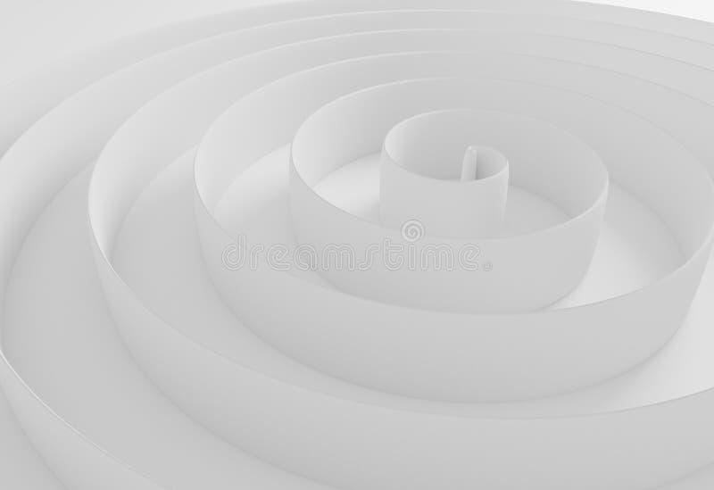 白色抽象螺旋边界背景3d例证 皇族释放例证