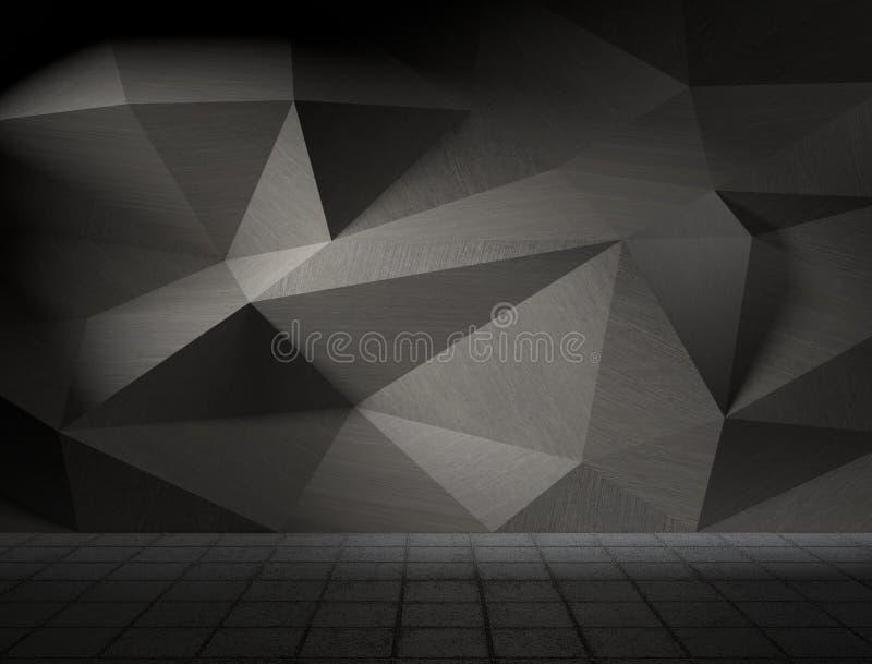 白色抽象lowpoly三角小平面表面3d例证 皇族释放例证