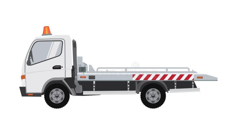 白色拖车 与单色设计的平的传染媒介 皇族释放例证