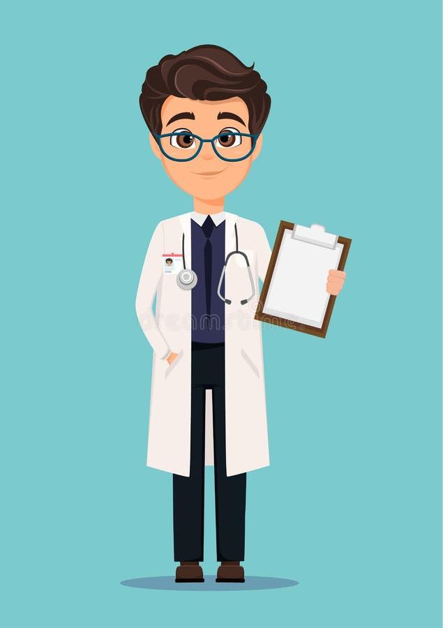 白色拿着剪贴板的外套和玻璃的医生 库存例证