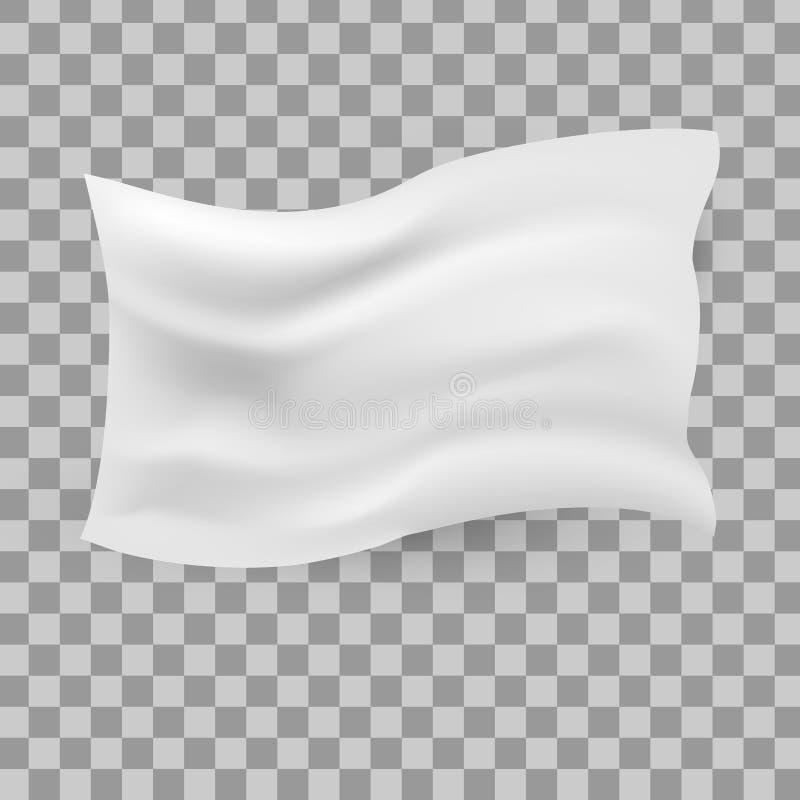 白色挥动的旗子模板transparen背景 皇族释放例证