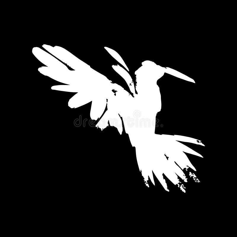 白色掠夺 手拉的艺术性的黑鹂 库存例证