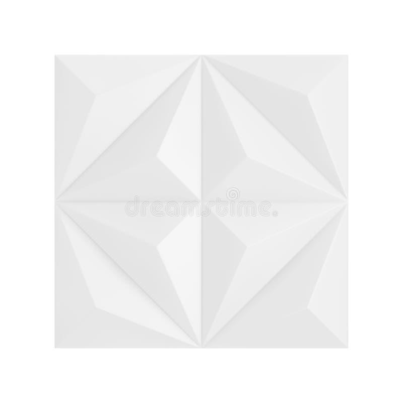白色摘要几何多角形金字塔墙板段 3d翻译 库存例证