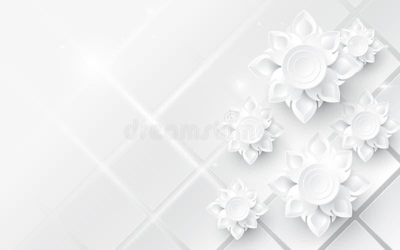 白色摘要开花亚洲样式背景 库存例证