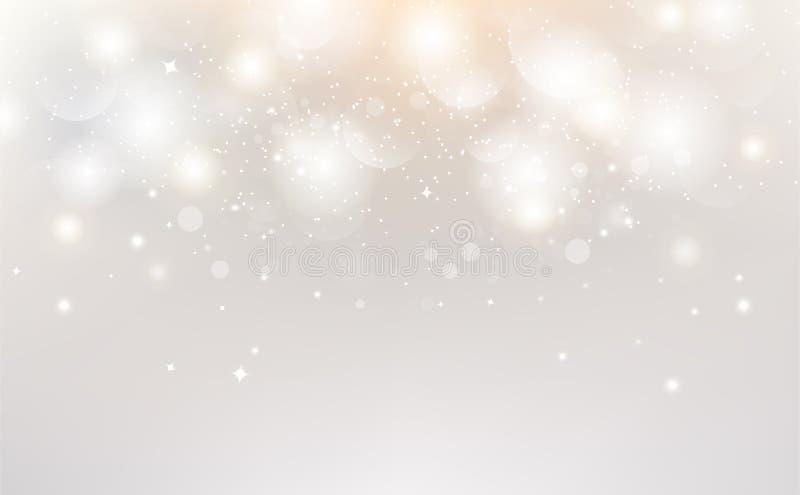 白色摘要,Bokeh装饰背景传染媒介例证季节性假日庆祝 库存例证
