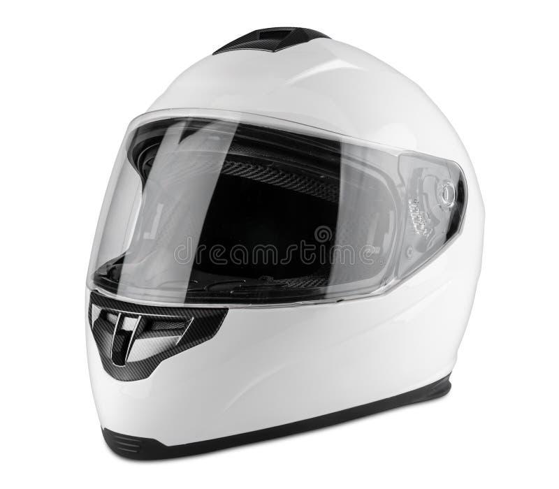 白色摩托车碳缺一不可的安全帽被隔绝的白色背景 motorsport汽车kart赛跑的运输安全概念 免版税库存照片