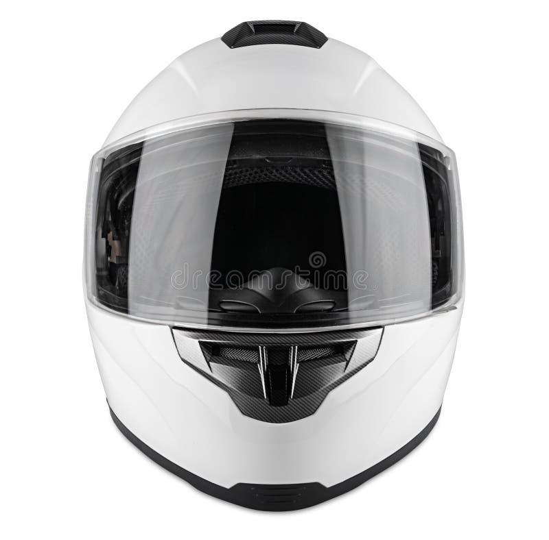 白色摩托车碳缺一不可的安全帽被隔绝的白色背景 motorsport汽车kart赛跑的运输安全概念 免版税库存图片