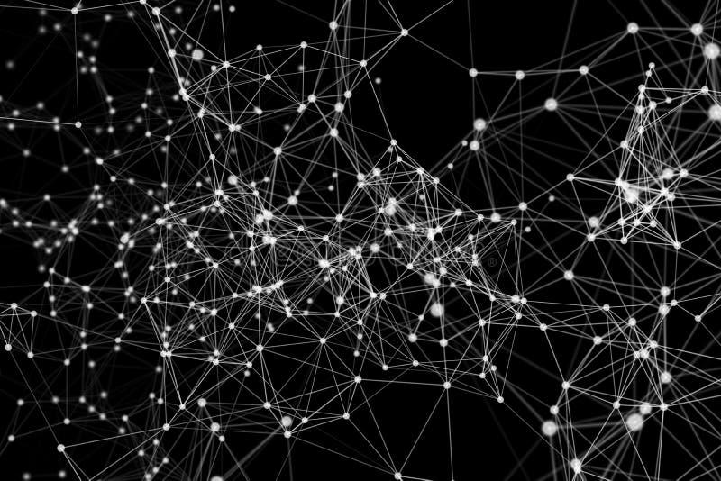 白色数字资料和网络连接三角线和球形在未来派技术概念在黑背景,3d 皇族释放例证
