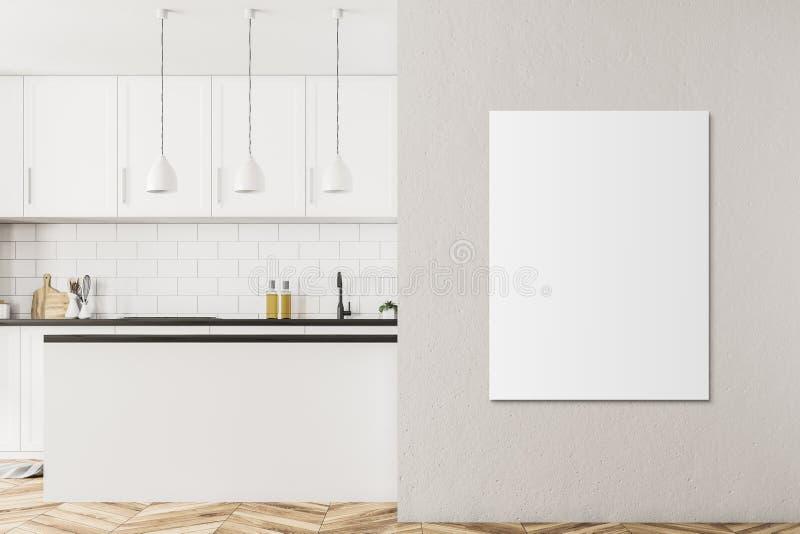 白色斯堪的纳维亚样式厨房内部,海报 库存例证