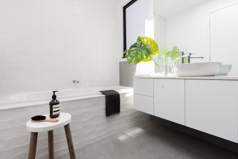 白色斯堪的纳维亚题材时髦的家庭卫生间  图库摄影