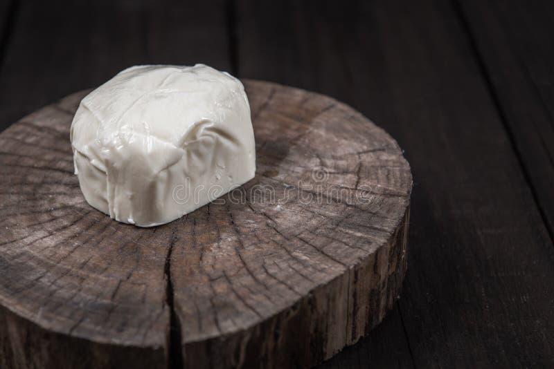 白色无盐干酪乳酪 库存照片