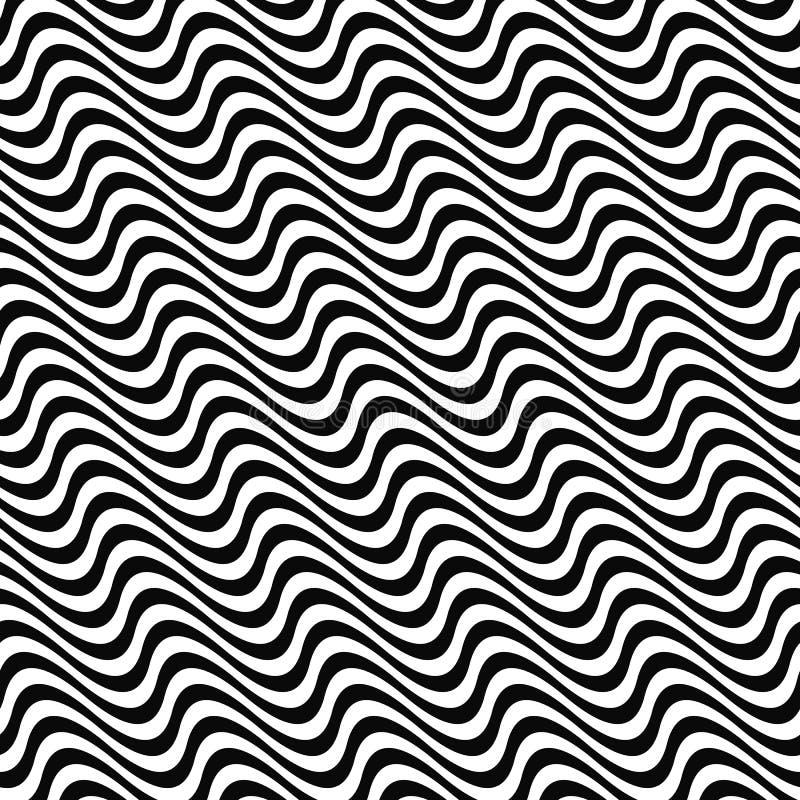 黑白色无缝的波动图式 皇族释放例证