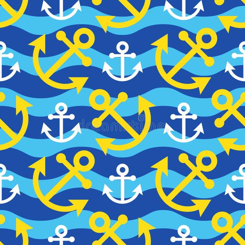 白色无缝的波浪的例证-,黄色船锚 向量例证