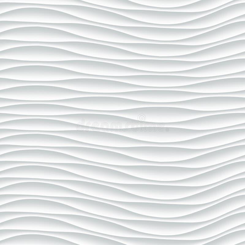 白色无缝的纹理 波浪的背景 库存例证