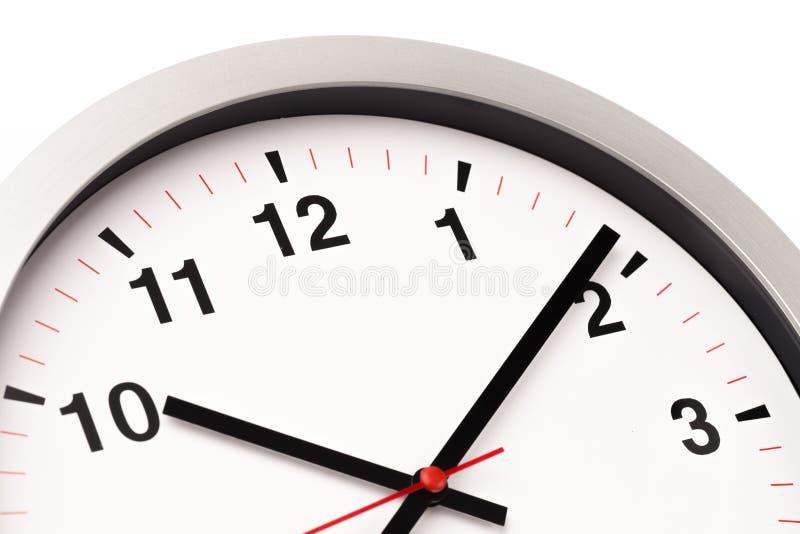 白色时钟,关闭看法 免版税图库摄影